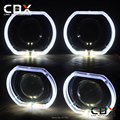 Square Shape White LED Angel Eye Black Shroud High Bright with/without 3.0 HID Bixenon Projector lens WST/Koito Q5/Hella