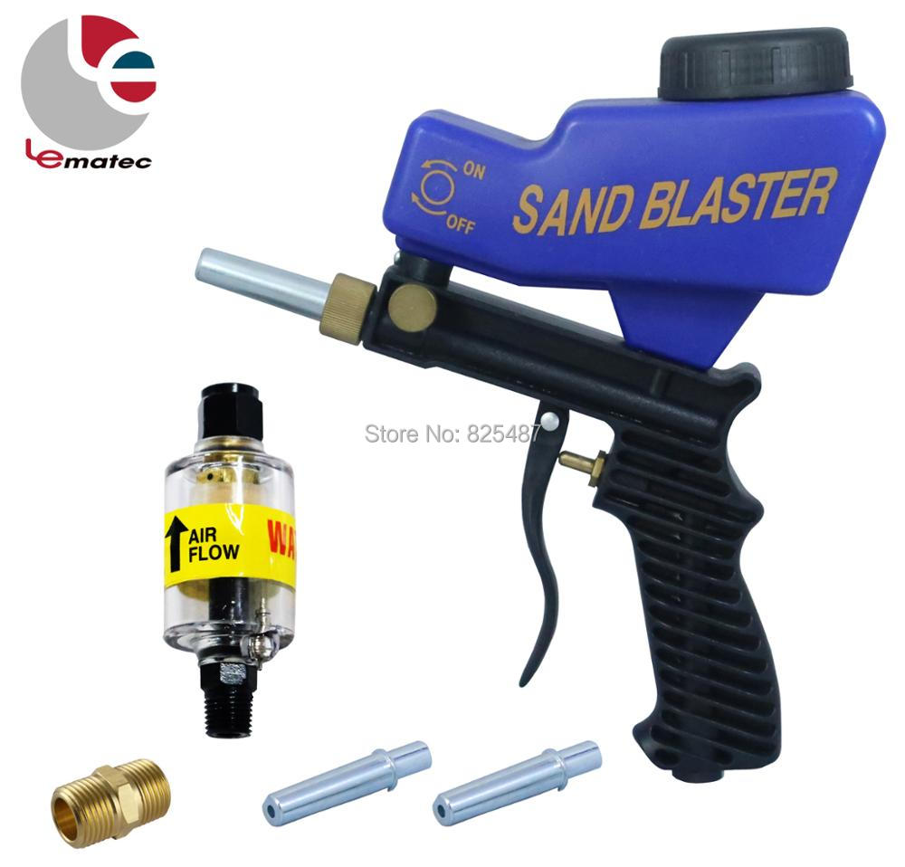 LEMATEC Sandblaster Gun With 1/4 Inline Air Filter Water Trap Water Oil Separator With Two Replace Tips 1/4 Male Brass FittingLEMATEC Sandblaster Gun With 1/4 Inline Air Filter Water Trap Water Oil Separator With Two Replace Tips 1/4 Male Brass Fitting