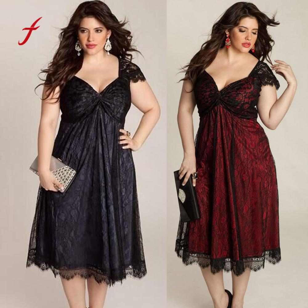 2018 Plus Size dress Women Sleeveless Lace Long V Neck Dress Evening Party Prom Gown Formal