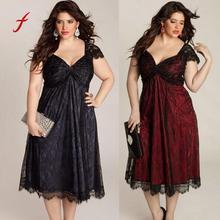 Sleeveless Lace Long V-Neck PLUS Size Prom Dress