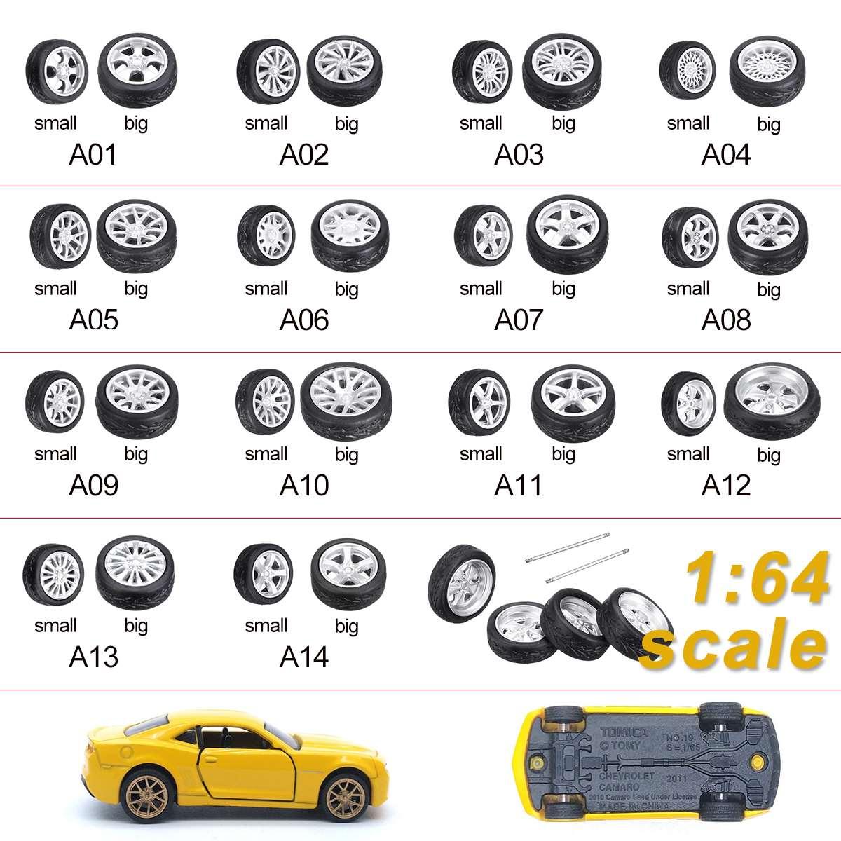 4 Pcs/Set Big+Small 1:64 Car Wheels Tire Modified Wheel A01-14 Style Wheel Rubber Tire Multi-card Wind Wheel Green Light Silver