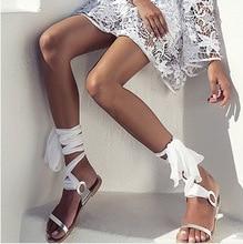 صندل مسطح مصارع للنساء بشريط أمامي وخلفي سادة مناسب للصيف والشاطئ برباط حذاء روما
