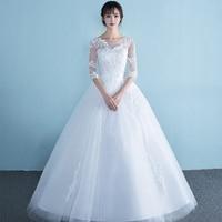 Винтаж линии Пол Длина bruidsjurken три четверти рукав натуральный белый лук свадебное платье бохо