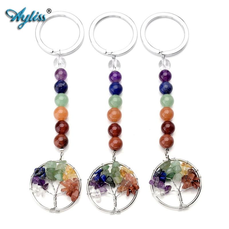 Charm 7 Chakra Key Gemstone Beads Tree of Life Pendant Keychain Keyring Gift