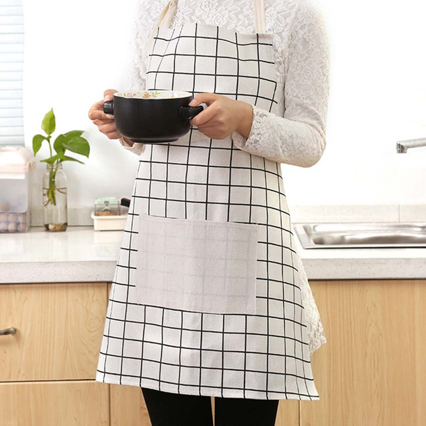 2018 Cotton Aprons For Women And Men Cooking Apron Kit Bib Japanese Ocean Style Stripe Tree Housework Kitchen Sleeveless Aprons Household Cleaning Protections