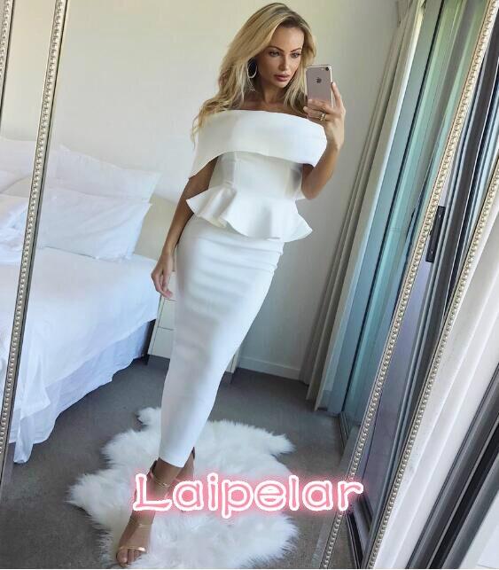 Kadın Giyim'ten Elbiseler'de Yaz elbisesi Romantik Bodycon Beyaz Pist Elbiseler 2018 Kadınlar Yüksek Kaliteli Off omuz Kolsuz Ruffles Parti Elbiseler S 3XL'da  Grup 1