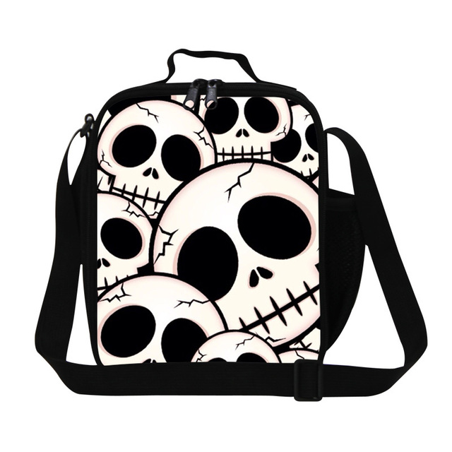 Stylish skull lunch bag for women,Ghost head shoulder work lunch bags for cool men,children's insulated meal bag,container bags