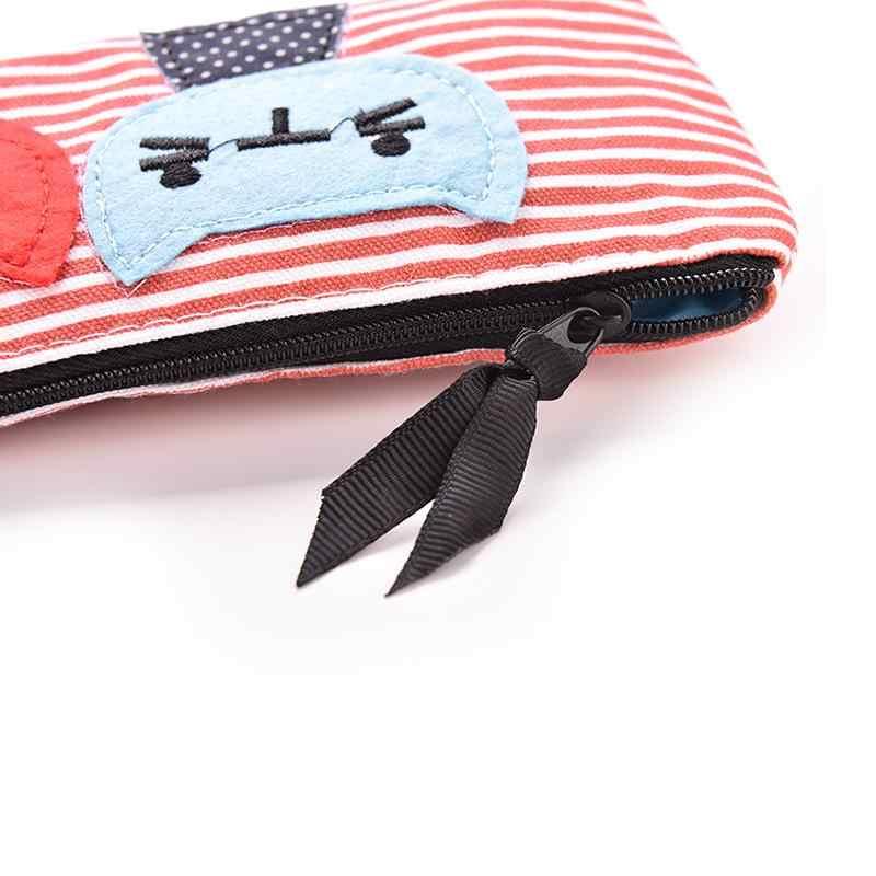 2019 модные креативные студенты для девочек Холст мультфильм сине белые в полоску пенал с изображением кота Дети Прекрасный ручка сумка
