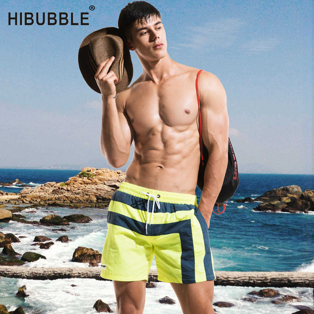 9a977cd4e0 HIBUBBLE Swimwear Men's Board Shorts 2018 Summer Beachwear Large Size  Swimwear Liner Mens Swimming Trunks Man