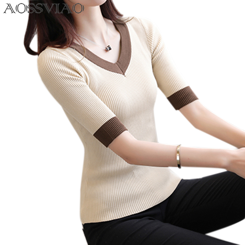 2020 Spring Summer Women Clothes Knitting Sweaters Pullpvers Undershirts Woman's Thin Tight Slim Sexy Simple Bottoming Shirt