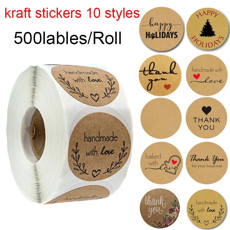 500 Labels per roll Round Natural Kraft Thank You Stickers seal labels Hand Made With Love Stickers Paper Stationery sticker tote bag