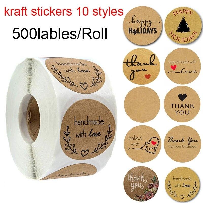 500 étiquettes par rouleau rond Kraft naturel merci autocollants sceau étiquettes faites à la main avec amour autocollants papier papeterie autocollant