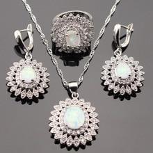 Flor de Fuego Blanco Australia Opal Color Plata Pendientes de Gota Colgante de Collar de Sistemas de La Joyería Para Las Mujeres Anillos de Regalo