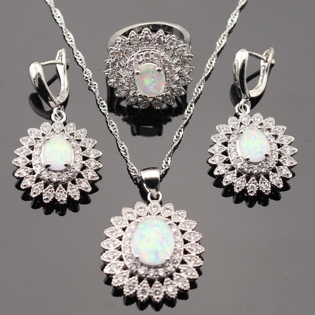Flower Fire White Australia Opal Silver Color Jewelry Sets For Women Necklace Pendant Drop Earrings Rings Gift Box