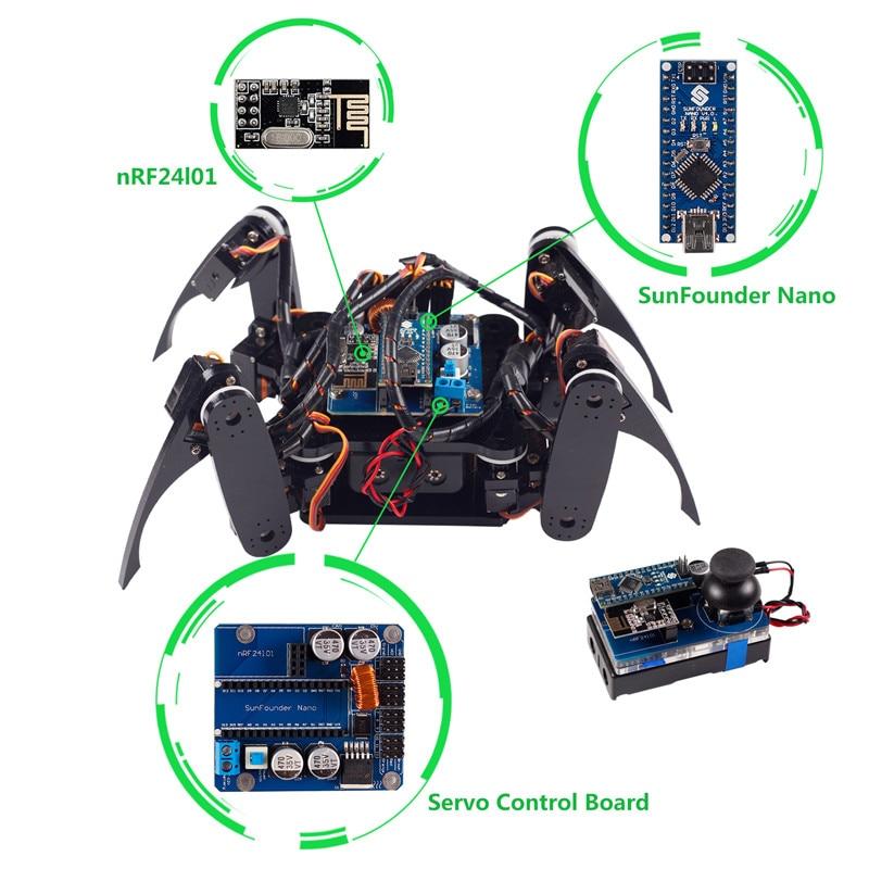 SunFounder font b Smart b font Remote Control Robot Electronic Crawling Spider Quadruped Robot Kit for