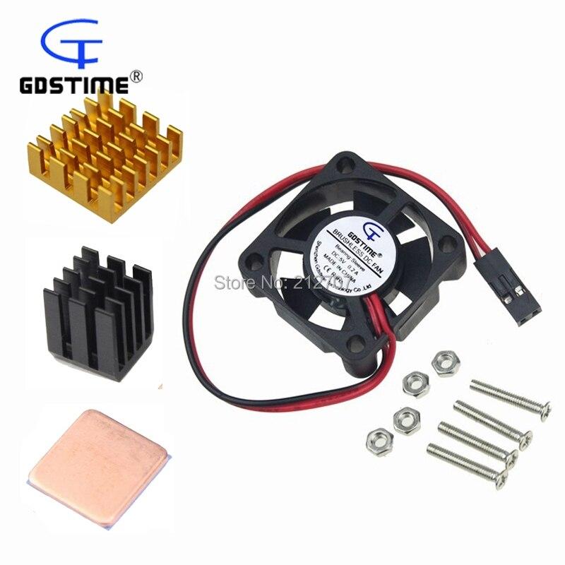 Gdstime Aluminum Heatsink Heat Sink Cooling Fan Kit For DIY Raspberry Pi 3 2 Modelo B цена