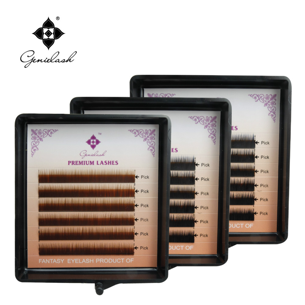 Genie 1pcs/lot Eyebrow Extension 0.10 Thickness I Curl 5mm 6mm 7mm Salon Use Eyelash extension Black/Brown/Dark Brown