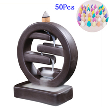 Ornament Censer Ceramic Backflow Home-Decor Creative with 50PCS Living-Room Office