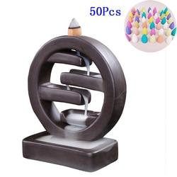 F With 50PCS 20PCS Incense Ceramic Backflow Incense Burner Creative Home Decor Incense Holder Censer Living Room Office Ornament