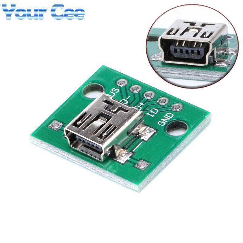 5 pcs Mini USB to DIP Adapter Plate Converter for 2.54mm PCB Board DIY Power Supply Female Head