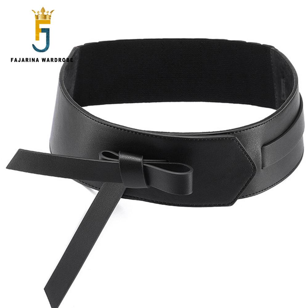 FAJARINA Unique Design Ladies Winter Coat Wide Bow Girdle Elastic Waistband Female Fashion Decorative Belt For Women LDFJ036