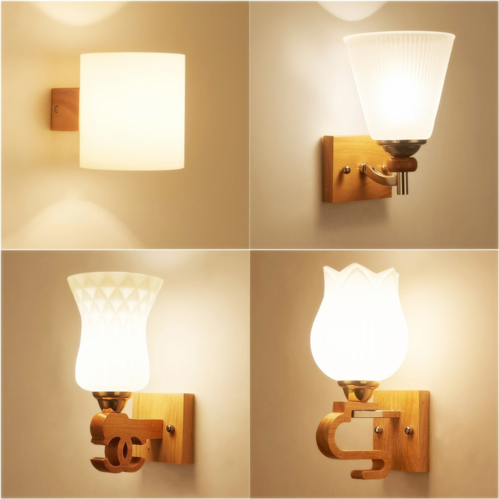 Modern Wall Light Modern Glass Sconces Wood Wall Lamp Wall Mounted Bedside Reading Lamps ...