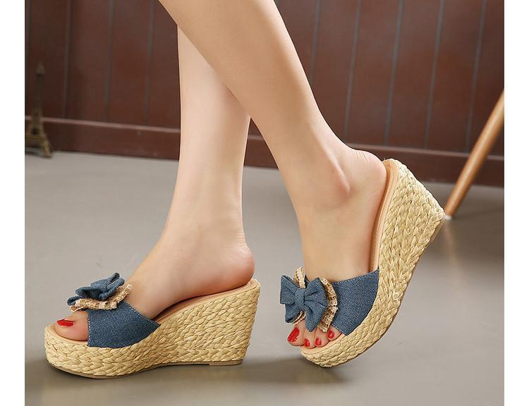 03e4b458baa Vintage Cheap Woven Wedge Summer Sandals Cheap Cute Bowtie Platform Shoes  Sandals Flip Flop Cheap Platform Wedge Sandal Flipflop