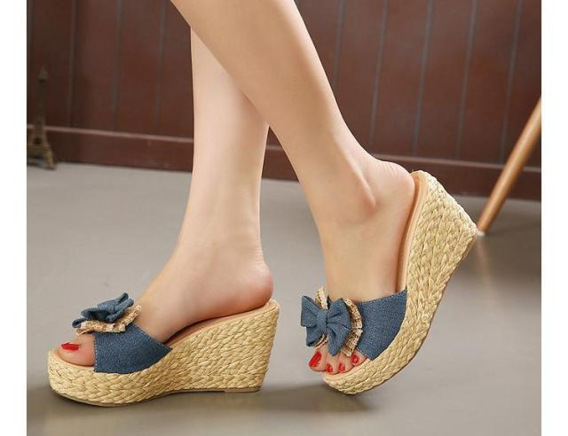 Vintage Cheap Woven Wedge Summer Sandals Cheap Cute Bowtie ...