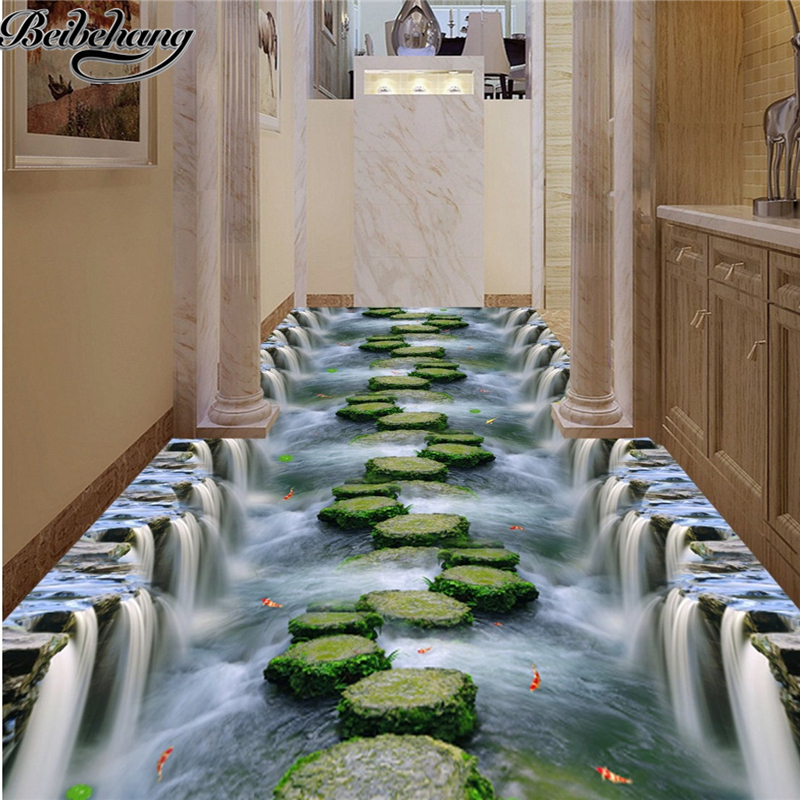 beibehang Custom stereoscopic 3d waterfall stream stone bridge floor bathroom kitchen footpath sitting room 3 d floor decoration stream хатанга 3 sport