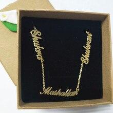 شخصية 3 لوحة قلادة اسم مخصص قلادة النساء المختنقون القلائد رسالة مجوهرات للأسرة الاطفال سلسلة قصيرة تصل إلى عظمة الترقوة BFF