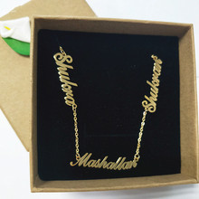 Personalized 3 Nameplate Necklace Custom Name Pendant Women Chokers Necklaces Letter Jewelry For Family Kids Clavicle Chain BFF