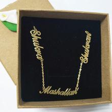 e3101291f200 Personalizada 3 placa Collar personalizado nombre colgante mujer  gargantillas collares joyería de la Carta de la familia niños C..