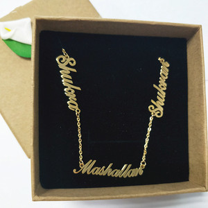 Image 1 - Personalized 3 Nameplate Necklace Custom Name Pendant Women Chokers Necklaces Letter Jewelry For Family Kids Clavicle Chain BFF
