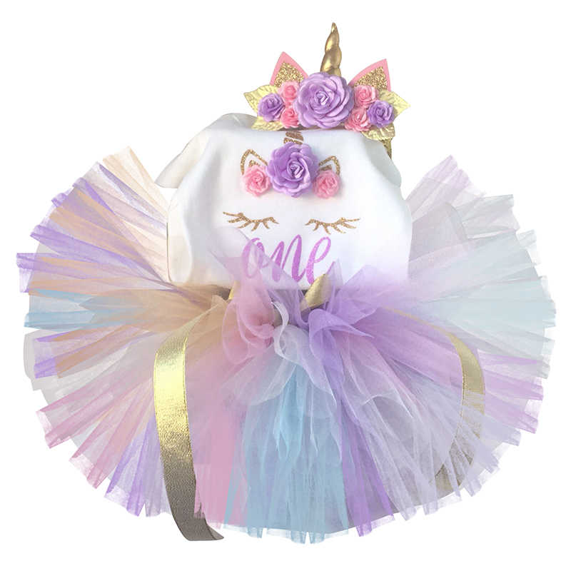 6a25dce5d 1 Year First Newborn Baby Girls 1st First Birthday Unicorn Dress Infant  Babe Clothes Gold Baptism