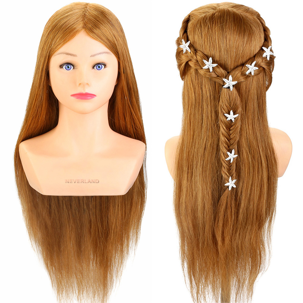 us $98.98 30% off|100% real human hair 24'' hairdressing training head hairstyle doll with shoulder braiding curling practice mannequin head on