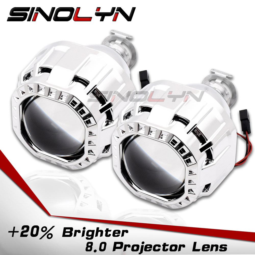 SINOLYN Upgrade 8 0 Square Shrouds Bi xenon HID Projector Lens Lenses for Headlights Retrofit DIY