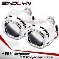 Sinolyn Headlight Lenses H1 HID Projector 8.0 Bi xenon Lens 2.5 Square Kit Car Lights For H4 H7 9005 9006 Accessories Retrofit|Car Light Accessories|Automobiles & Motorcycles -