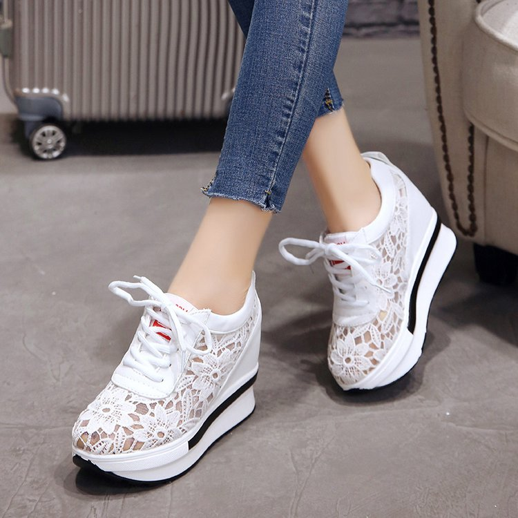 SLYXSH Mesh New Sales Summer New Lace Breathable Sneakers Women Shoes Comfortable Casual Woman Platform Wedge Shoes