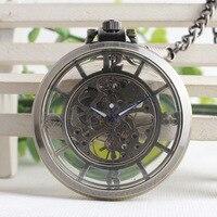 Antique Style Open Face Hollow Roman Numbers Bronze Pocket Watch Vintage Pendant Unisex Mechanical Hand Wind