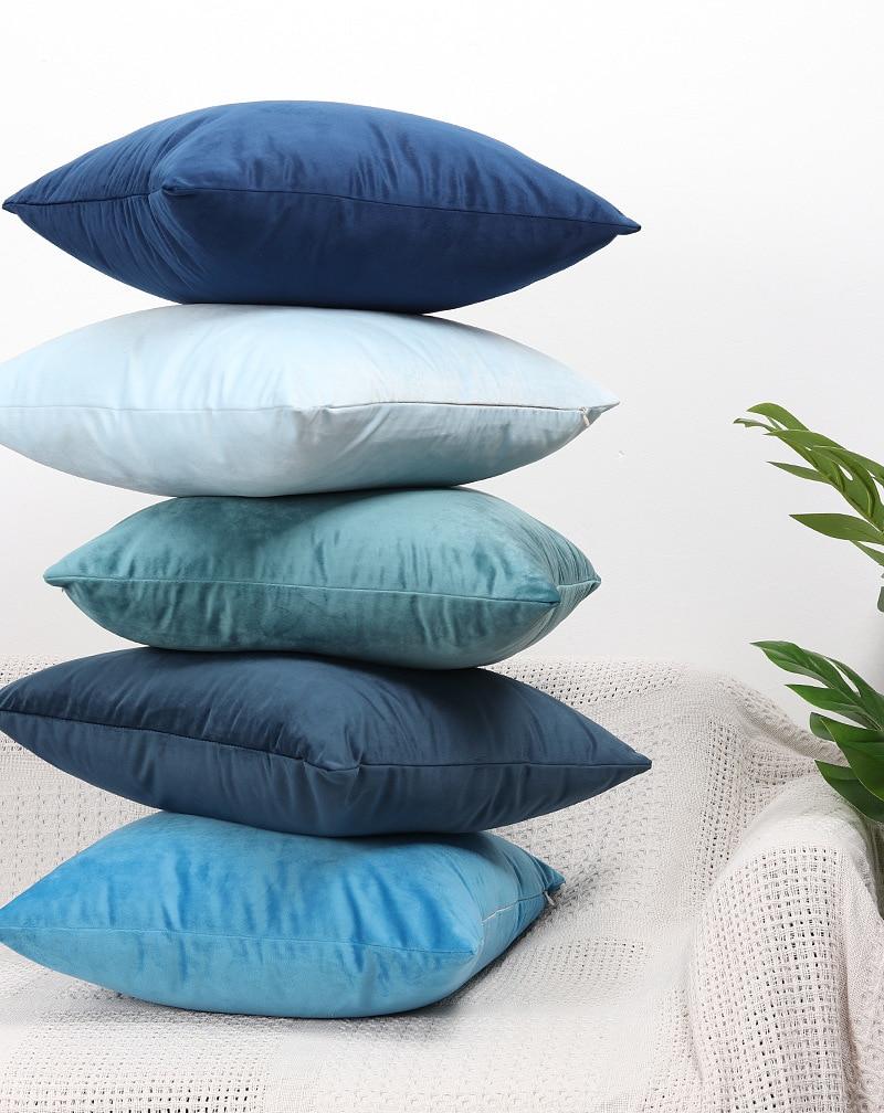blue black velvet cushion cover home