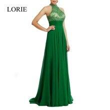 Emerald Green High Neck Brautkleider 2017 Eine Linie Reich Backless Halter Bördelte Chiffon Frauen Schwangere Abendkleider Party Kleid