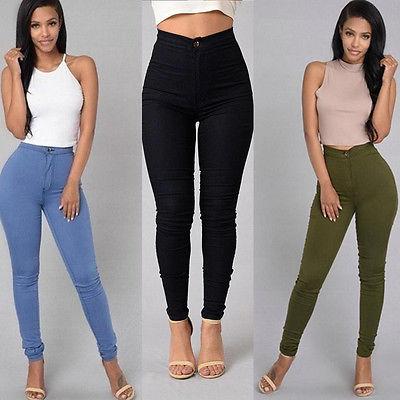 Women Pencil Stretch Slim Denim Skinny Jeans Pants High Waist Jeans Trousers /
