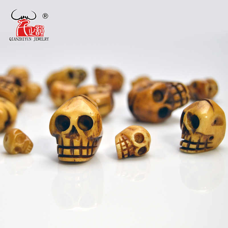Handmade Carved Yak Bone Beads, Skull Antique Beads for Halloween Jewelry Making, Brown, 20x21/15x16/12x13/9x10mm, Hole: 2mm