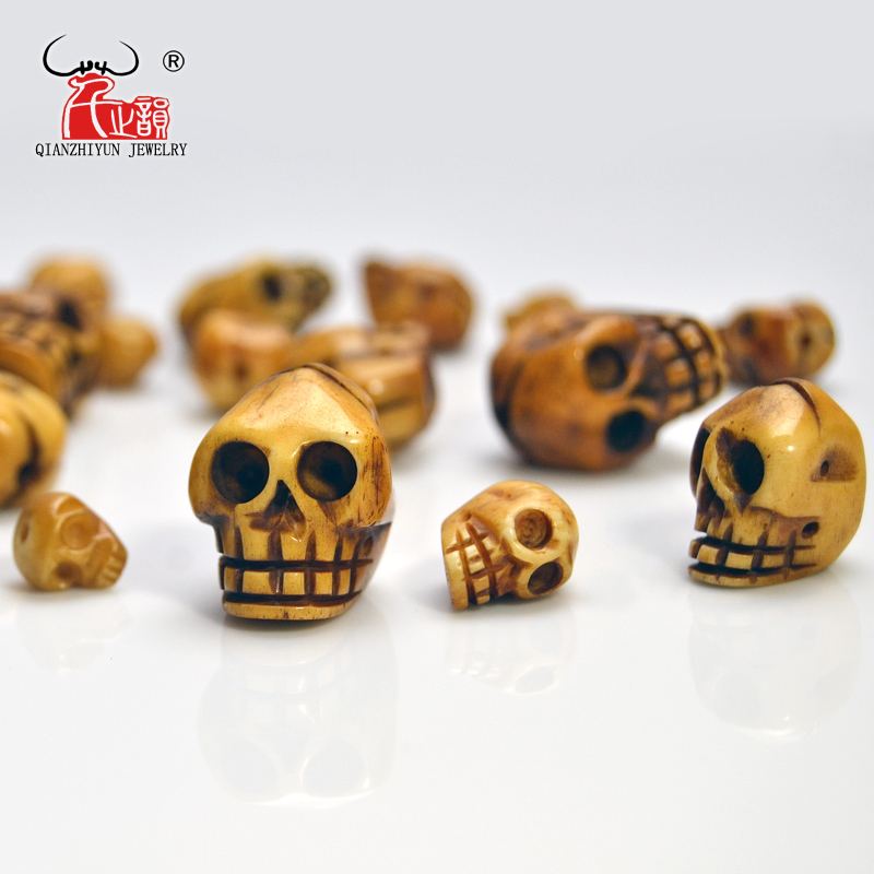 בעבודת יד מגולף יאק עצם חרוזים, גולגולת עתיקים גולגולת עבור ליל כל הקדושים תכשיטים ביצוע, חום, 20x21 / 15x16 / 12x13 / 9x10mm, חור: 2mm