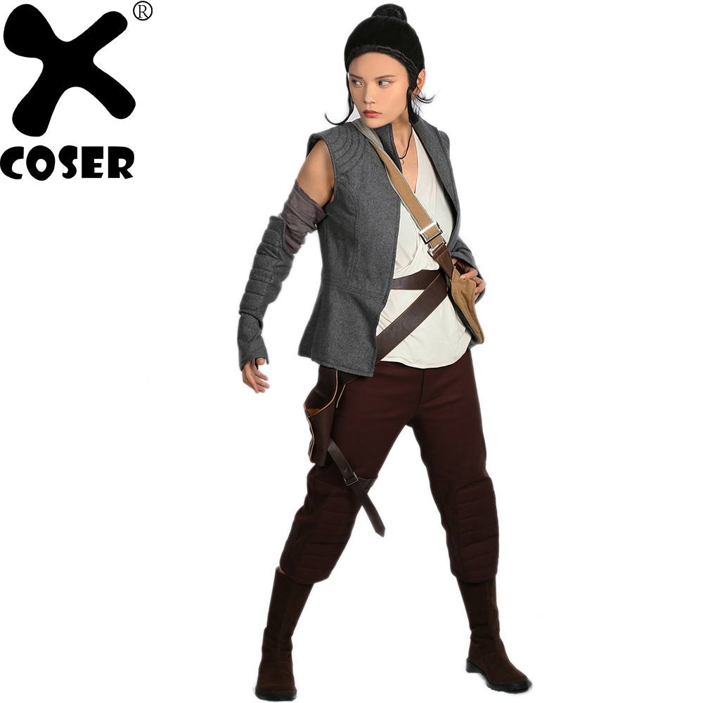 XCOSER Rey Cosplay Costume Movie Star Wars: Episode VIII Rey Outfits New Version for Halloween Costume for Women Parties XCOSER