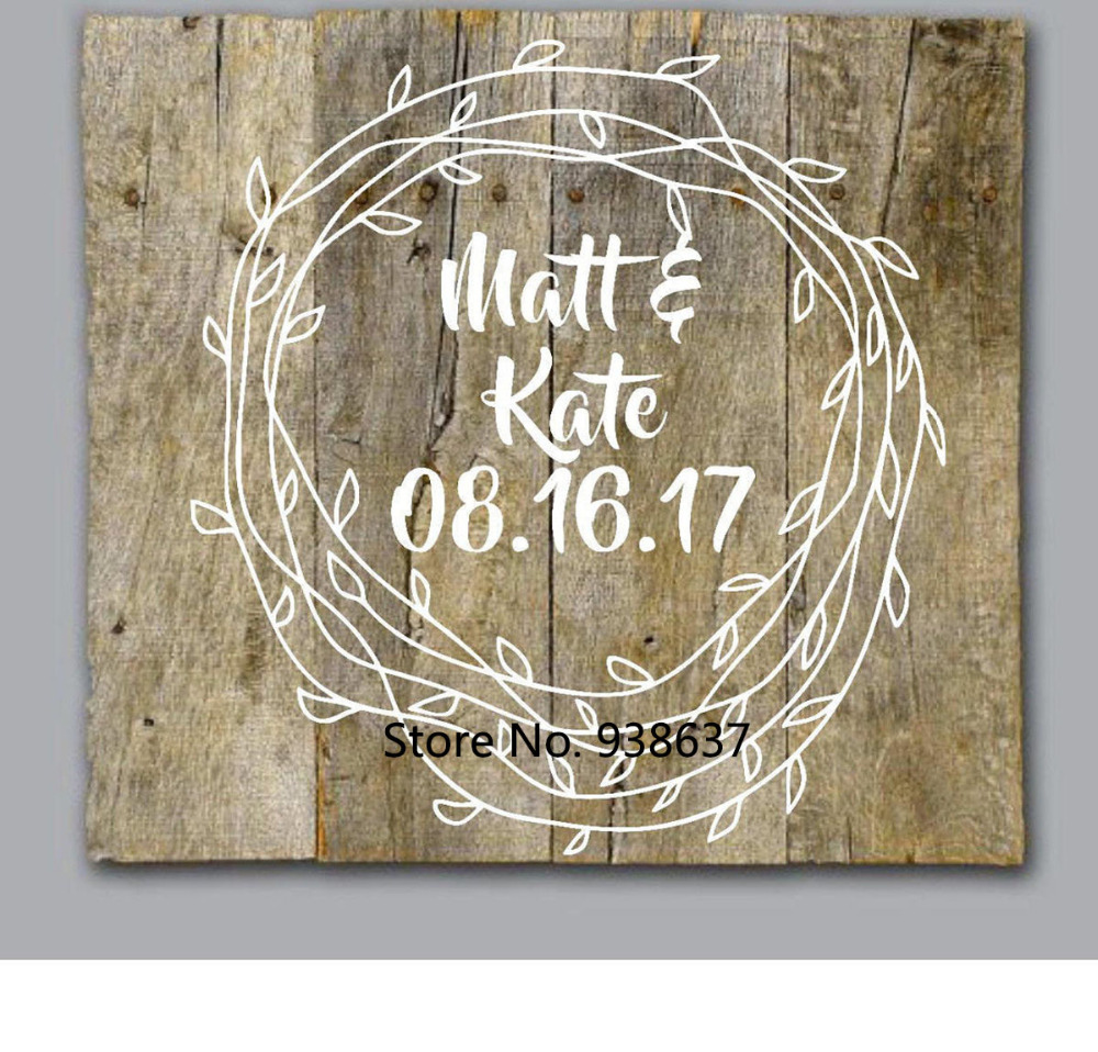 DIY Wedding Decal Wedding Mr and Mrs Wall Art Personalized Vinyl Decals For Pallet Wood Painted Walls Removable Stickers ZB129