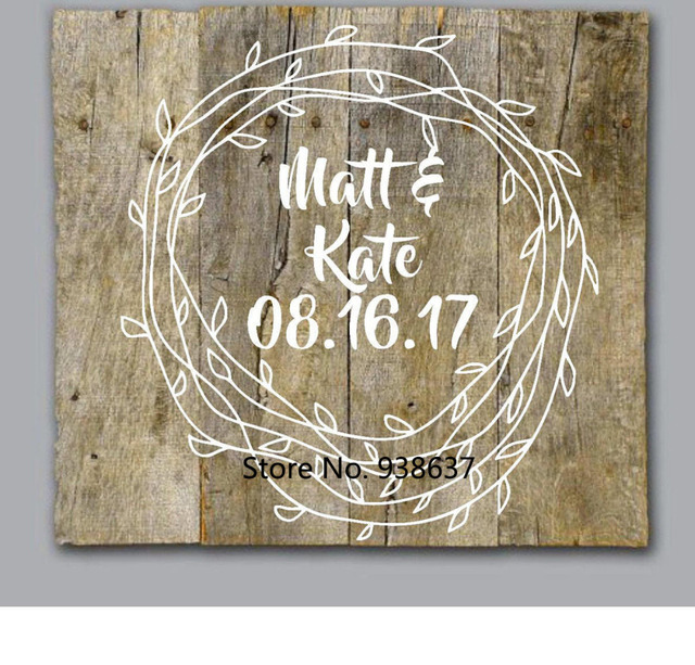 Diy wedding decal wedding mr and mrs wall art personalized vinyl decals for pallet wood painted