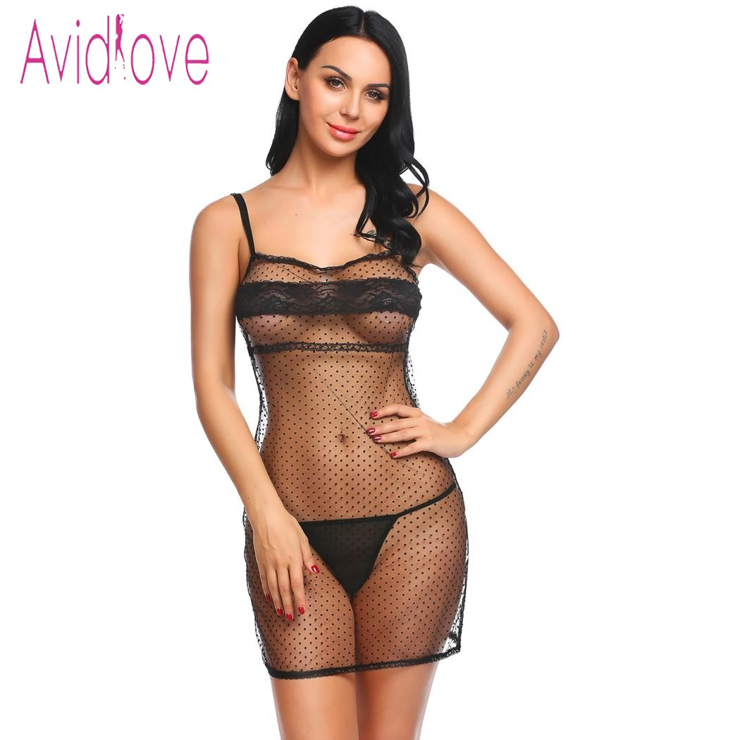 Avidlove Sexy Lace Babydoll Dress Women Strap Mesh Dot Transparent Lingerie Erotic Hot Sex Mini Sleepwear Exotic Clothes