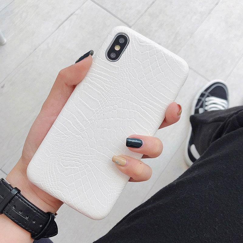 Boucho для iphone Xs MAX XR X XS чехол s крокодиловая текстура чехол для телефона для iphone 11 Pro max 7 8 6 6S Plus Роскошный чехол из искусственной кожи - Цвет: crocodile white