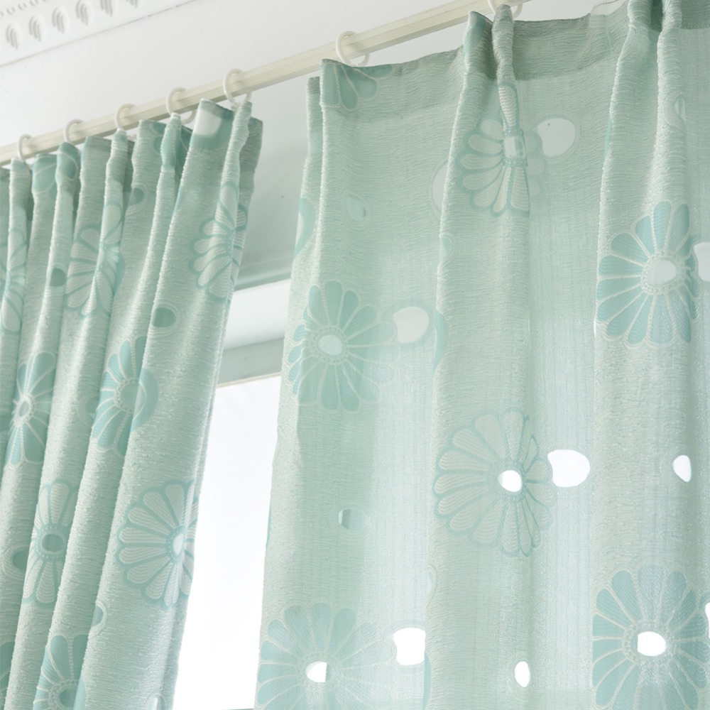 Short window curtains ready made design semi blackout floral kitchen ...
